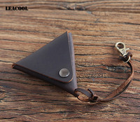 Leacool Vegetable Tanned Classic Simple Triangle Handmade Coin Purse Hasp Practical Cool Personality Genuine Leather Small