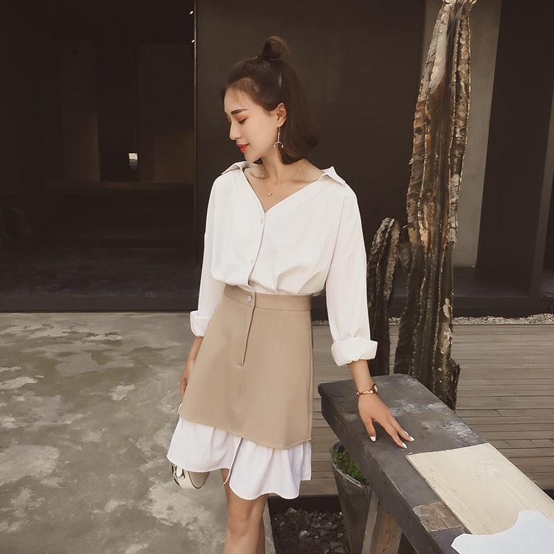 Style Nouvelle Pink Xia Chemise Le Robe Ins Cool Super Fille Sukol 2018 khaki Pour Feu Longue Chun PrPZx