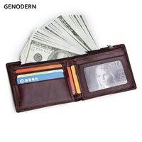 GENODERN мужские кошельки из натуральной кожи фирменный дизайн кошельки с застежкой-молнией карманные Кошельки для монет подарок для мужчин де...