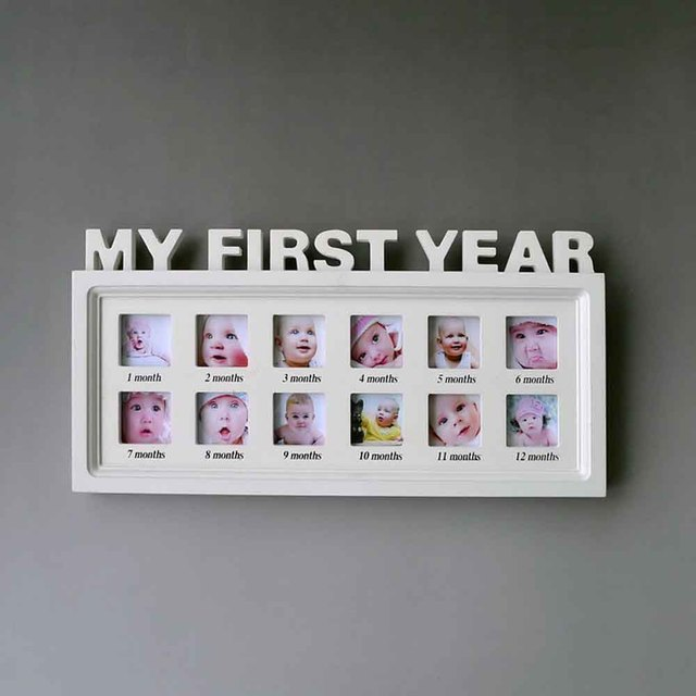 photo frame artificial board baby my first year picture frame hanging home decoration baby shower gift - My First Year Photo Frame