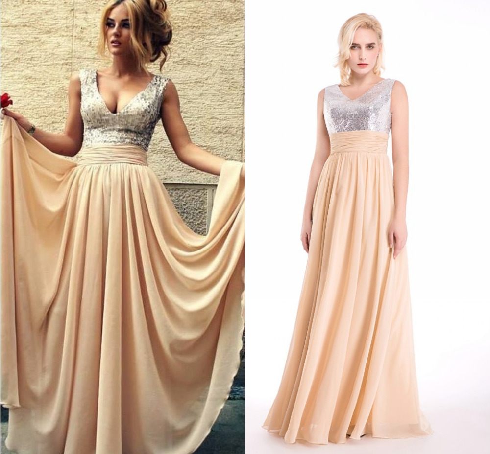 Country Western A Line Cheap Chiffon Bridal Gowns Beaded: Sexy V Neck Champagne Chiffon Long Evening Dresses Formal