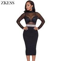 Zkess Women Sheer Black Mesh Lace Patchwork Bodycon Dress Turtleneck Embellish Waistd Sexy Party Club Midi