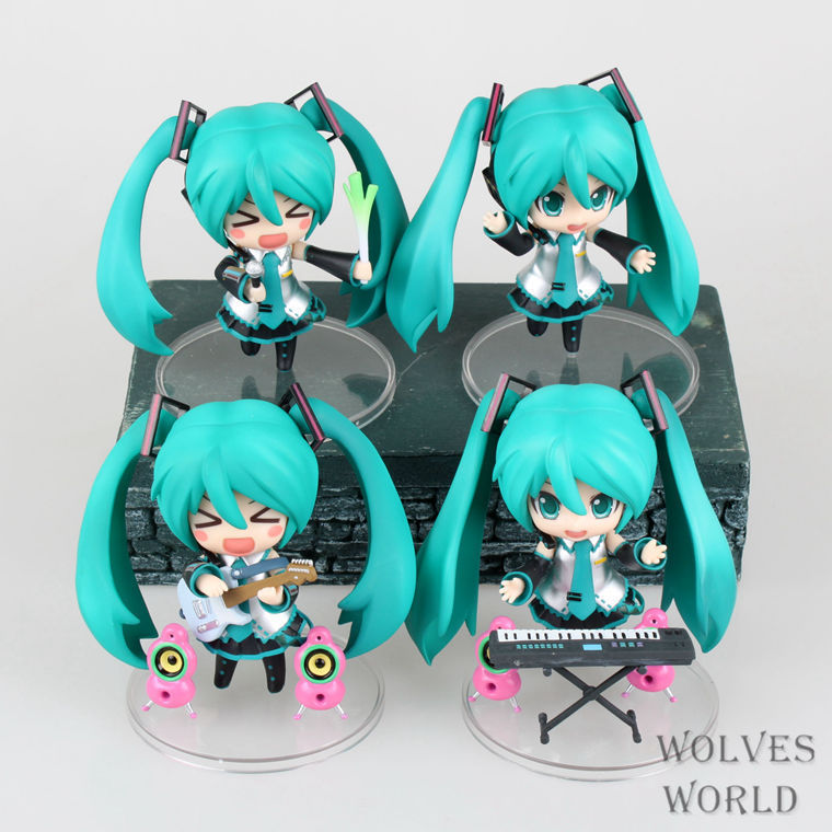 цена 4 Pcs/Set Japan Anime Hatsune Miku Figure PVC Action Figure Guitar Music Ver. Model Collectible Brinquedos Kids Toys Juguetes