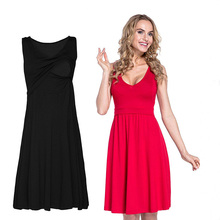 Womens Maternity Clothes Sleeveless Pregnancy Dress Pure Color Casual Pregnant Dresses