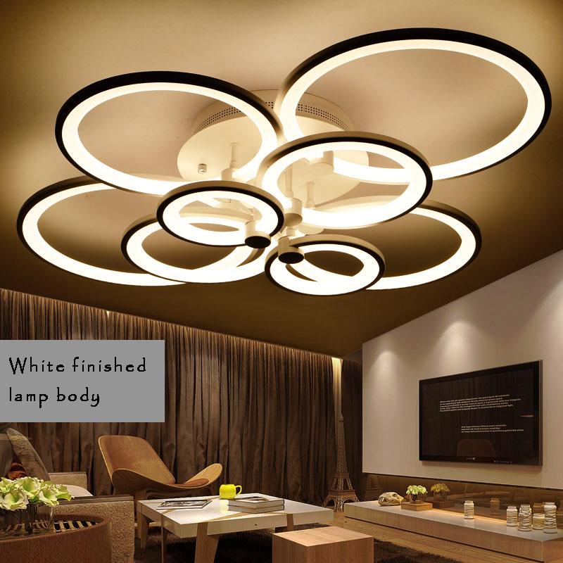 Black and White LED Chandeliers For Dining Room Rings Led Chandelier Lightings Modern High-Power Led Lustre Ceiling Chandelier chandeliers for dining room