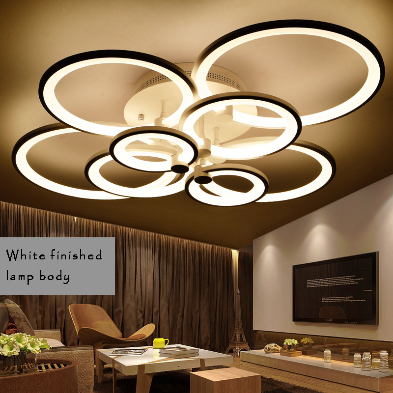 Rings Modern LED Chandelier For Living room Dining room Bedroom Luminaire Led Chandelier Lighting Led Lustres Black/ White body black crystal chandelier light modern black chandelier lighting bedroom dining room living lobby lamp lighting candle bulb