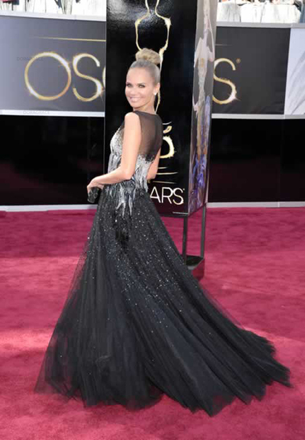 Doragrace Custom Illusion Tulle Black Beaded Evening Dresses Mermaid Celebrity Dresses Evening Gowns Plus Size 1