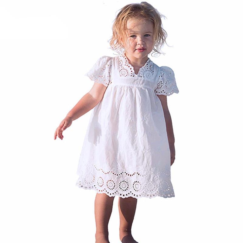 Bavlněné krajkové dívčí šaty děti 2017 léto nové vyšívané dětské oblečení bílé krajkové princezny šaty tenké společenské šaty velikost 100-140