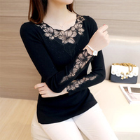 2018 Women Sexy Lace Patchwork Pullover Sweaters Fashion Hollow Out Round Collar Long Sleeve Knitted Tops Pull Femme