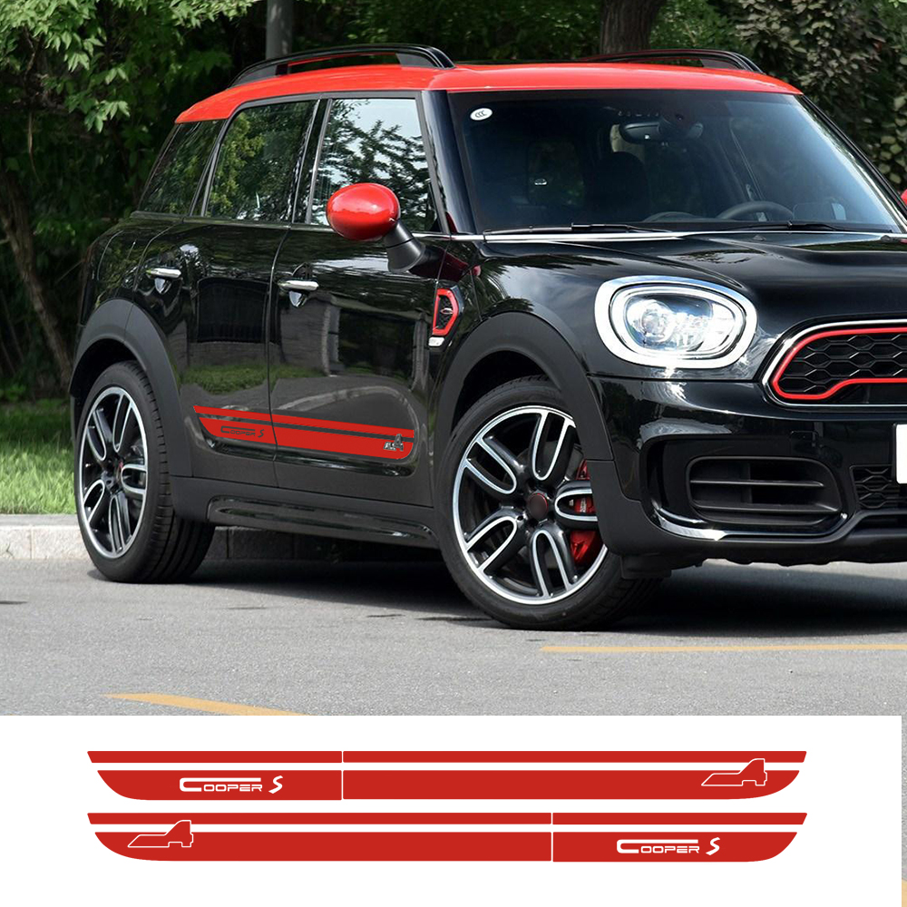Car Styling Door Side Stripes Skirt Sill Decal Stickers Decor for Mini New Countryman F60 2017-Present Cooper S All4 Graphics aliauto car styling side door sticker and decals accessories for mini cooper countryman r50 r52 r53 r58 r56