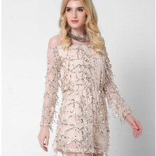 Europe and the United States women's new long sleeved collar strapless dress sexy clothing sequined tassels