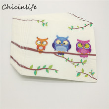 Chicinlife 20pcs/lot Owl Paper Napkin For Kids Party Birthday Wedding Decoration Table Supplies Napkins Decoupage