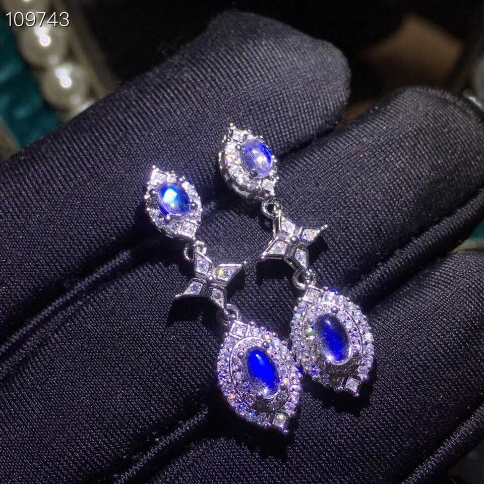 Natural blue moonstone stud earrings, 925 silver, clean stones, beautiful colors, ladies earringsNatural blue moonstone stud earrings, 925 silver, clean stones, beautiful colors, ladies earrings