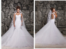 Free shipping mermaid wedding dress 2014 Designers White See Through With Removable Train bridal gown