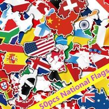 50 pcs Bandeiras Nacionais Adesivos Brinquedos para As Crianças Nos Países Mapa Etiqueta para DIY Scrapbooking Mala de Viagem Portátil Do Carro Da Motocicleta