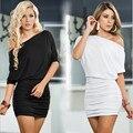 Летнее Платье 2016 Новый Сексуальный Слэш Шеи Сплошной Цвет Половину рукава Белый Черный Синий Дамы Bodycon Платье Vestidos Плюс размер