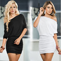 Vestido de verano 2016 Nueva Sexy Slash Cuello Del Color Sólido de Media manga Blanca Azul Negro Partido de Las Señoras Bodycon Vestido Vestidos Plus tamaño