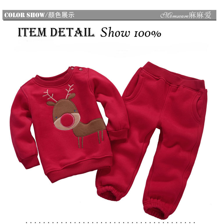 Autumn Winter Boys Girls Clothes Sets Sports Suits Children Warm Clothing Kids Cartoon Jacket Pants Long-Sleeved Christmas Suit
