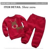 Sonbahar Kış Erkek Kız Elbise Spor Takım Elbise Setleri Çocukların Sıcak Giyim Çocuklar Karikatür Ceket Pantolon Uzun Kollu Noel Suit