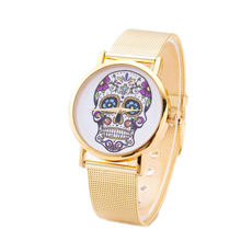 цены на Hot Sales 2019New Charming Wristwatches Unisex Womens Mens Punk Skull Printed Golden Mesh Alloy Band Analog Quartz Wrist Watch  в интернет-магазинах