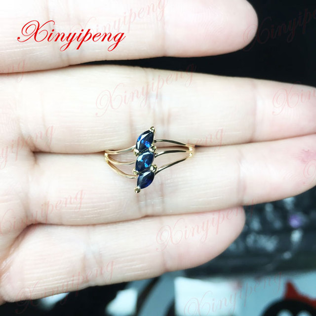 18 k gold inlaid natural sapphire ring 4