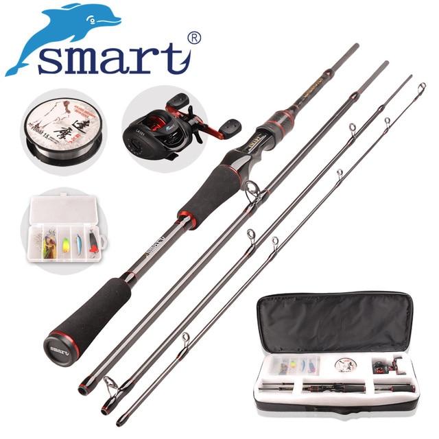 SMART Casting Fishing Set 6.2:1/6BB Casting Reel 1.98m M Casting Rod 100m Nylon Fishing Line Spoon Lure Accessories Pesca Peche