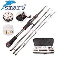 SMART Casting Fishing Set 6.2:1/5+1BB Baitcasting Reel 1.98m M Casting Fishing Rod 100m Nylon Fishing Lure Accessories Peche