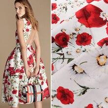 HLQON хлопок сатин розовый белый фон ткань для шитья женская одежда обивка ткани свадебное платье