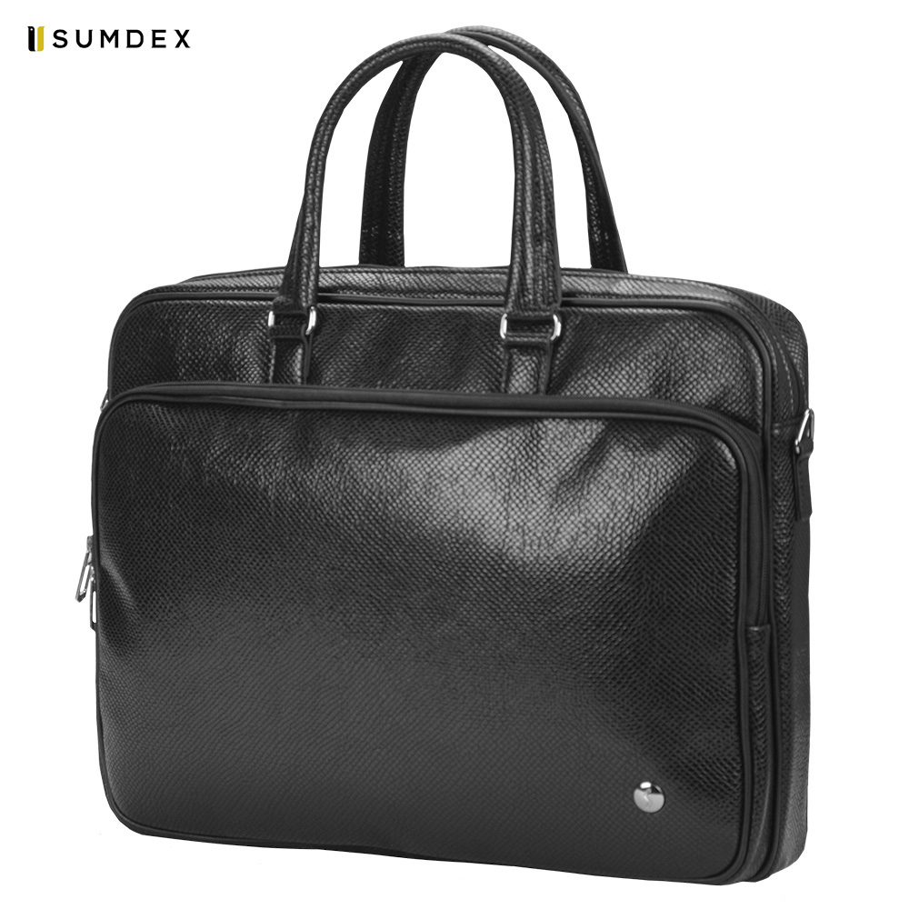 Laptop Bags & Cases Sumdex SUMPUN337BK for laptop portfolio Accessories Computer Office for male female coupon soild brown good leather zefer male handbag man laptop business office working briefcase shoulder bag metal lock letter