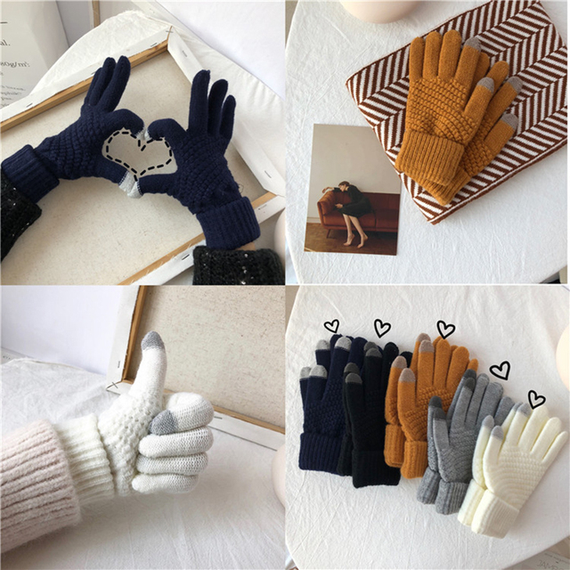 Winter Touch Screen Gloves Women Men Warm Stretch Knit Mittens Imitation Wool Full Finger Guantes Female Crochet Luvas Thicken 2