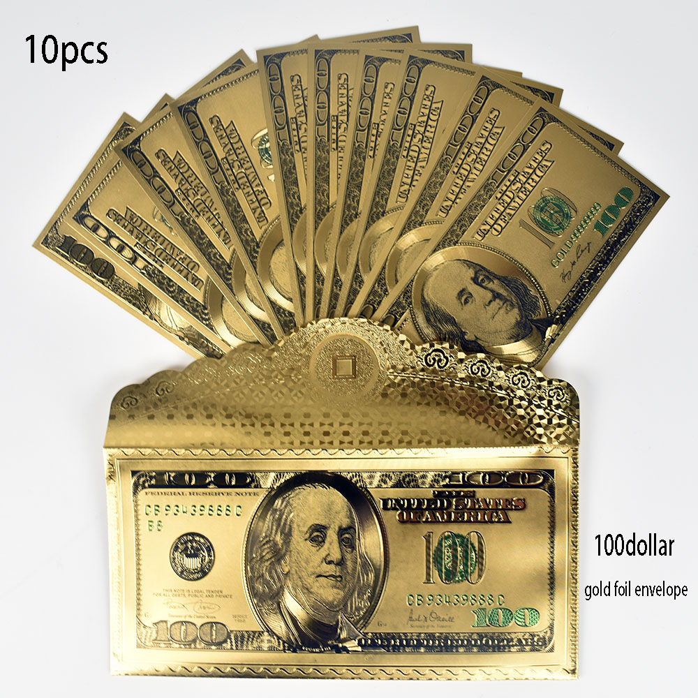 10 unids/lote USD 100 dólares billete de papel de oro con dinero falso de envolope América para regalo de colección