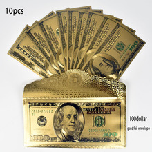 10pcs/lot USD 100 Dollar Gold Foil Banknote with envolope America Fake Money For Collection Gift