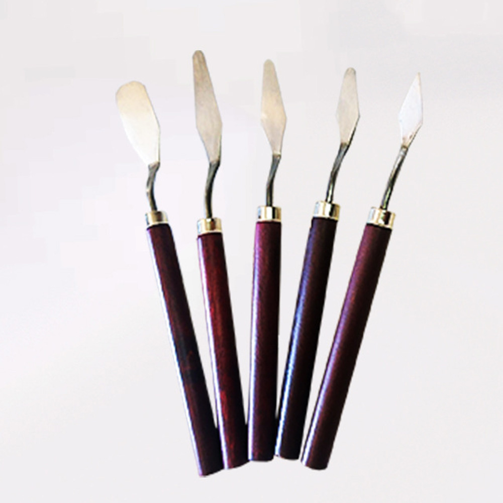 5Pcs Fine Arts Mixing Scraper Palette Knife Stainless Steel Spatula Painting Kit Paint Professional 3