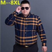 플러스 사이즈 10XL 8XL 6XL 5XL 4XL 새로운 남성 농축 모조 모직 격자 무늬 셔츠 옷깃 레저 긴 소매 셔츠 Camisa Masculina