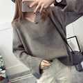 НОВЫЙ горячий продажа женская осень зима весна v-образным вырезом толстые свободные свитера женщина колледжа ветер повседневная пуловеры пальто 3 цвета