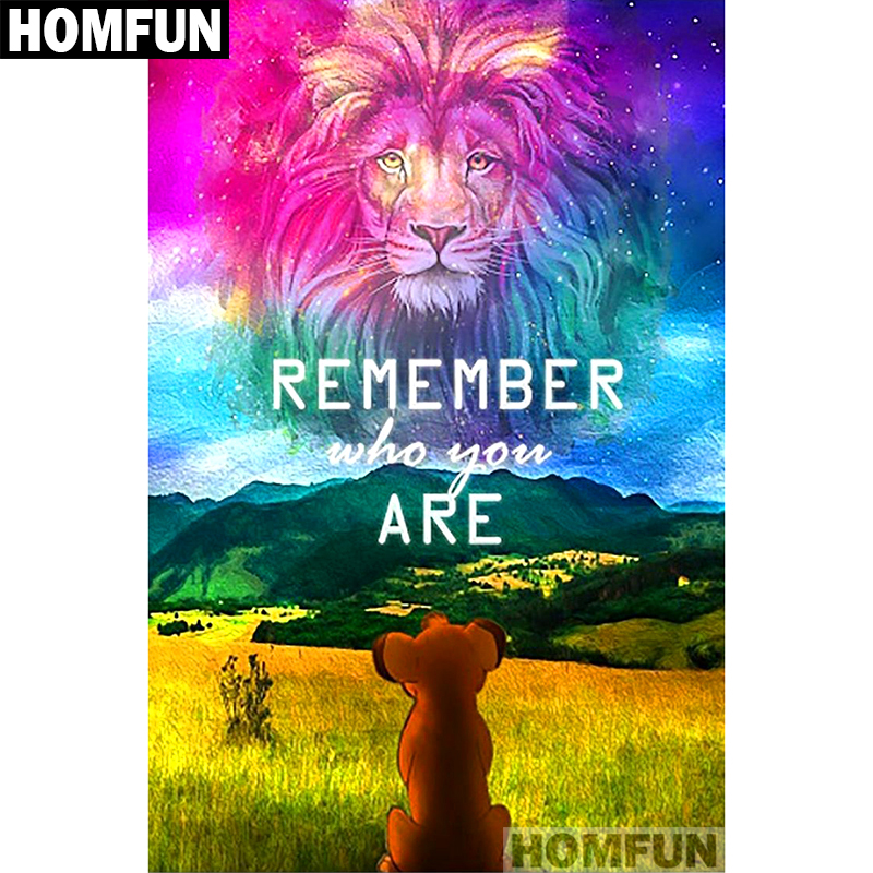 "HOMFUN Full Square/Round Drill 5D DIY Diamond Painting ""Lion sky"" Embroidery Cross Stitch 5D Home Decor Gift A01325(China)"