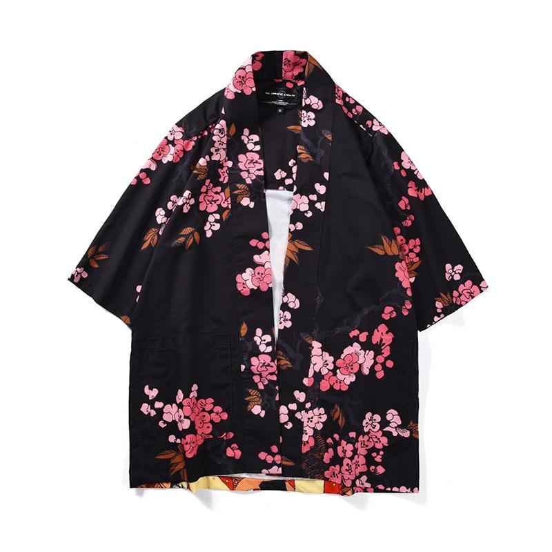 Men And Women Couple Loose Thin Shirt Printed Kimono Cardigan 3/4 Sleeve Jacket