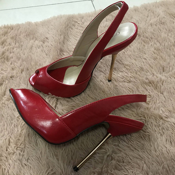 Women Stiletto Thin Iron High Heel Sandals Sexy Sling Back Peep Toe Red PU Party Bridal Ball Lady Shoe 3845-g11