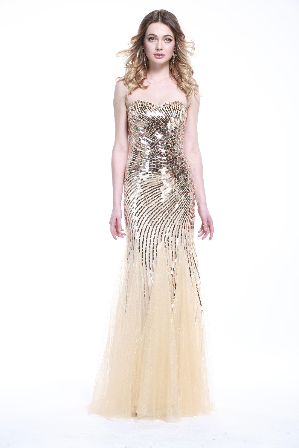 ffc219e48ad6 FM Hot Sale Strapless Sweetheart Off shoulder Sequined Crepe Champagne Sexy  Long Evening Dress Custom Made-in Prom Dresses from Weddings & Events on ...