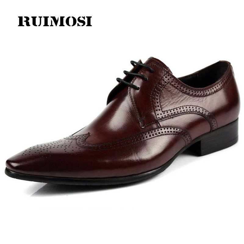 RUIMOSI Formal Brand Man Dress Shoes Genuine Leather Vintage Brogue Oxfords Luxury Pointed Toe British Men's Wing Tip Flats DF55