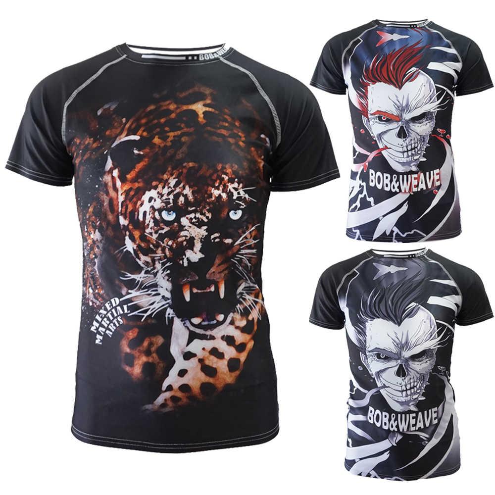 Pria Kapas Tinju Kaus Jerseys Tiger Muay Thai MMA K Berlaku Jiu Jitsu Sauna Suit K Berlaku MMA T Shirt Raja Tinju BJJ