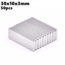 Powerful Block Neodymium Magnet 30x10x3mm N35 Rare Earth NdFeB 50pcs 30x10x3 Permanent Strong Magnetic Bar Magnets