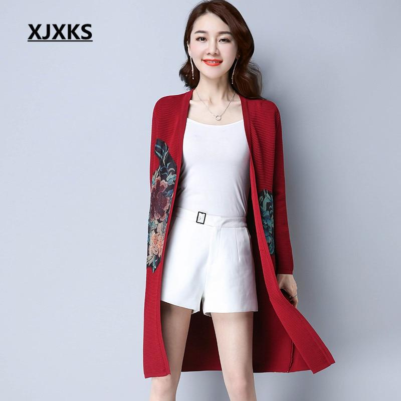 XJXKS Casual Streetwear Women Cardigans Sweater Coat Ladies Clothing V neck  Beautiful Print Woman Long Sweaters -in Cardigans from Women s Clothing on  ... c4af10229