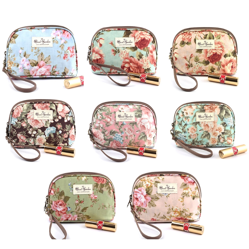 Women Travel Cosmetic Bag Zipper Makeup Flower Floral Hand Holding Makeup Case