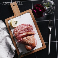 ANTOWALL Nordic Ceramic Breakfast Fruit Bread Plate Bamboo Wood Frame Marble Chopping Board Steak Pizza Tray With Handle