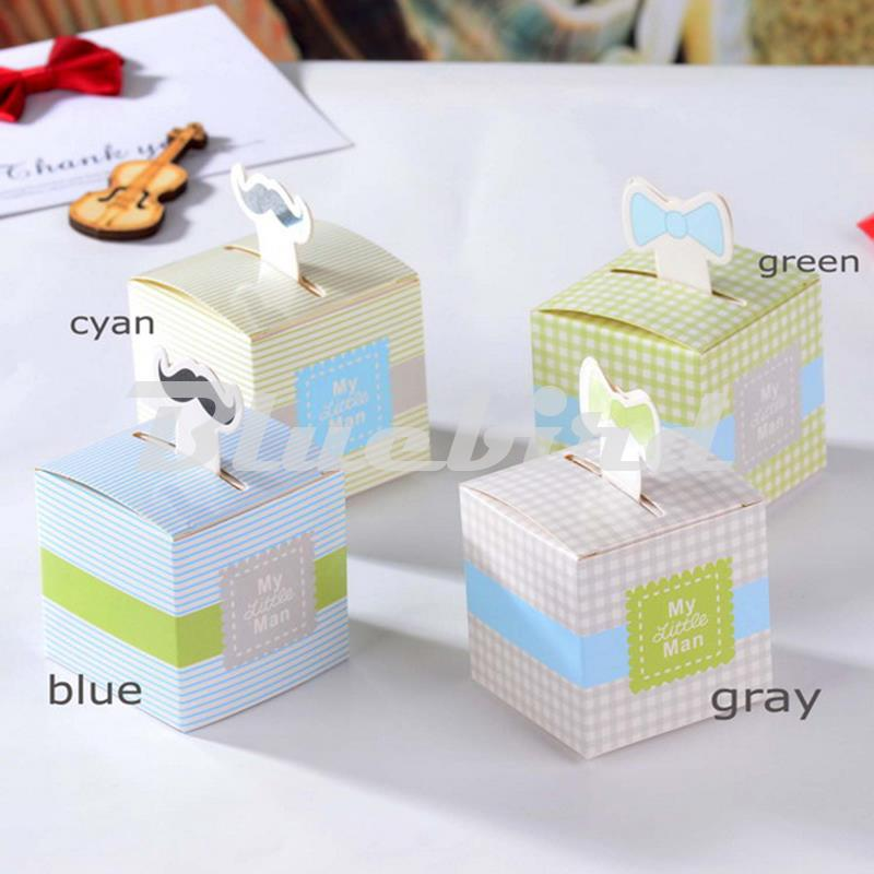 Baby Shower Favour Boxes Box Boy New Baby My Little Man Green Grey Blue