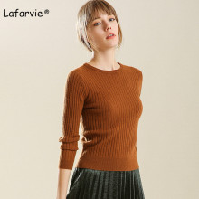 Lafarvie Slim Knitted O-neck Sweater Women Autumn Winter Long Sleeve Pullover Fashion Thick Warm Stretch Soft Solid Color Jumper