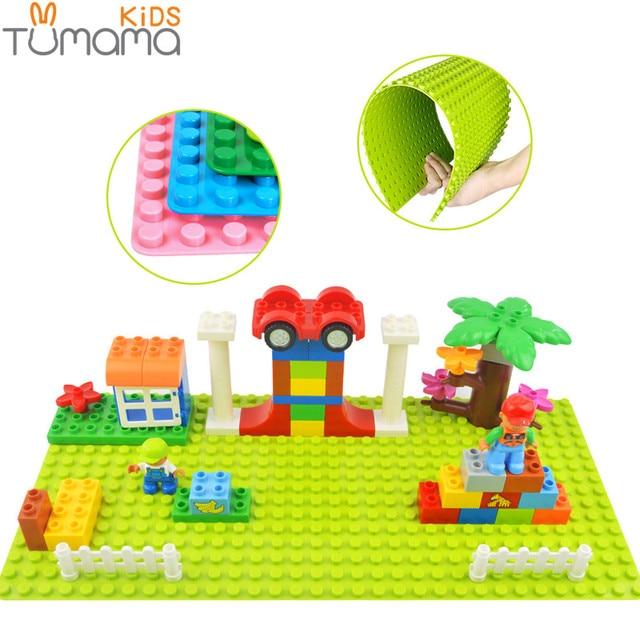 Tumama Base Plate 32*16 Dots Big Size Blocks Baseplate Compatible legoinglys Duplo 51*25.5 cm DIY Building Blocks Base For Kids