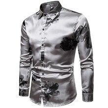 Fashion Silver Silk Mens Dress Shirts 2019 Casual Ink Floral Printed Fo