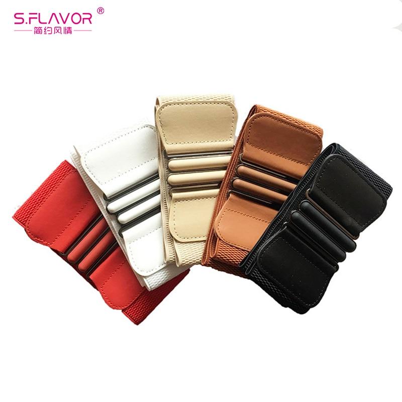 S.FLAVOR Fashion Vintage Design Wide Cummerbund HOT Sale Belts For Women Coat Dress Solid Elastic Women Waistband